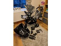 iCandy Peach 2016 Blossom double pram in truffle grey. With Pebble Plus iSize car seat.