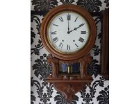 ANTIQUE ANGLO AMERICAN CARVED ROUND DIAL C1890 WALL CLOCK IN EXCELLENT WORKING ORDER