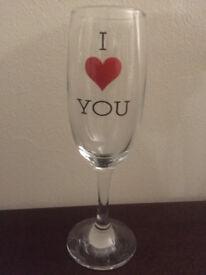 **WINE CHAMPAGNE GLASS, I LOVE YOU - NEW**