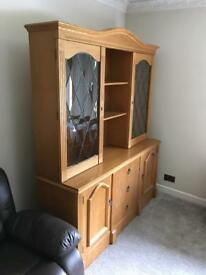 Oak Display Cabinet on sideboard