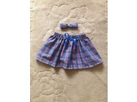 Blue tartan skirt and hair clip