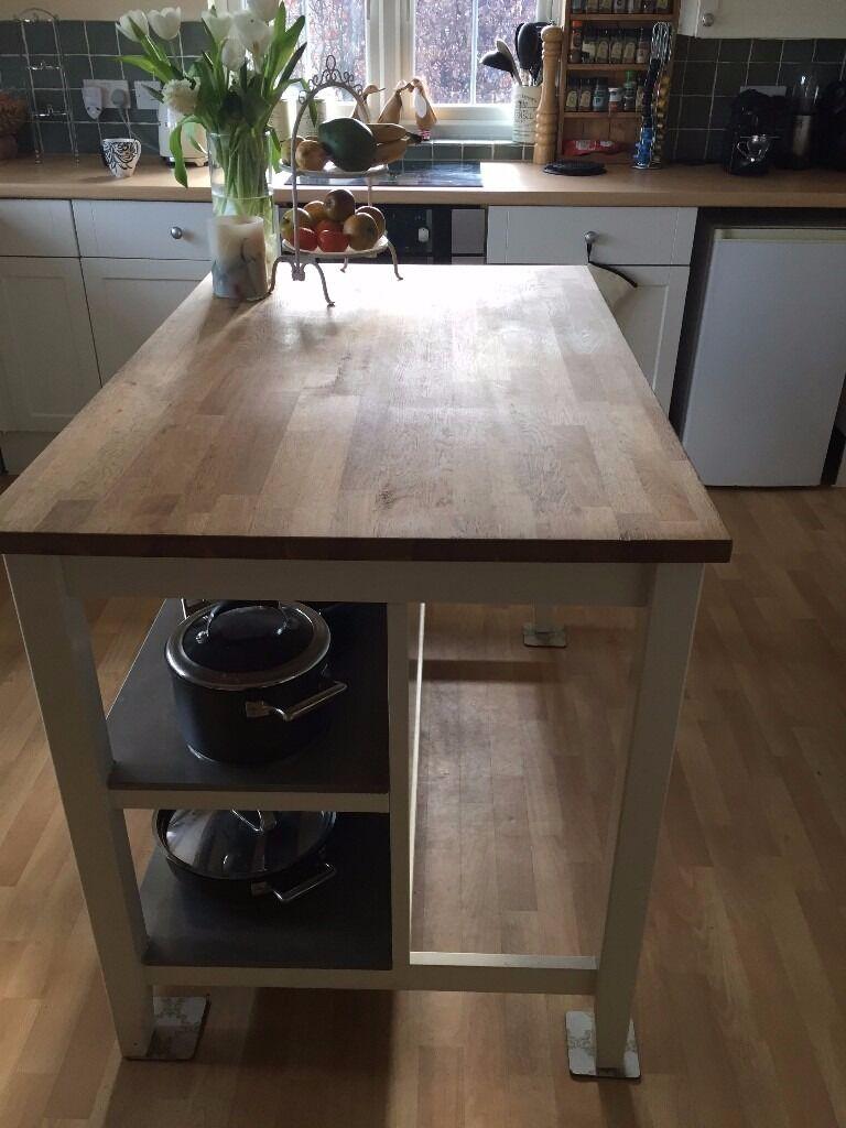 Stenstorp kitchen island plus 2 ingof bar stools