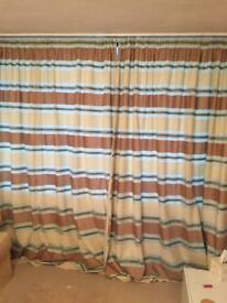 Dunelm horizontal stripped lined curtains pair brown cream green