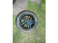Set 4 , FORD FOCUS/PEUGEOT , 4 x 108 ,15 inch,5 twin bladed spoked black alloy wheels c/w tyres
