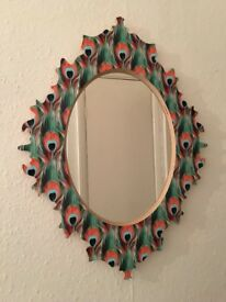 Eye catching beautiful mirror with peacock feather design Immaculate condition.