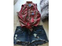 Size 6/8 superdry top and hollisterskirt
