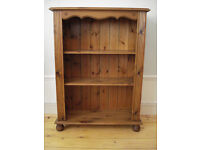 Pine Bookcase Book Shelf Antique style Bun feet