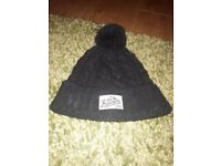 Reason Black Beanie Hat with pom pom