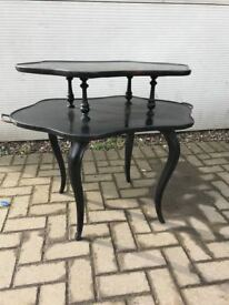 Ebonised Victorian etagere 2 tier table