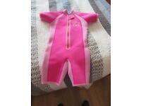 Jo Jo Maman Bebe Pink Girls Wetsuit Age 3- 4yrs