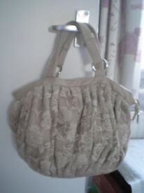 Nude cotton lace over PVC, handbag, lined , zipper closure, internal pockets