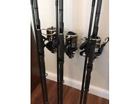 Daiwa Windcast S5000LD reels/Fox Warrior XT 12ft 3lb rods
