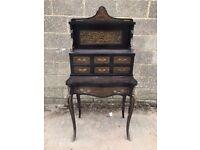 Beautiful, French, Inlaid Ebonised, French Antique Dressing Table Bureau, Desk