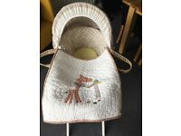 Mamas & Papas Moses Basket with Ivory Stand. Excellent condition.
