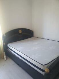 Black and gold King bed(free mattress)