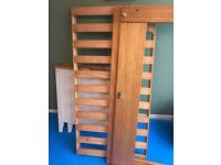 Solid white and wood cot bed excellent condition with spotless mattress