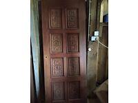 1 x 8 carved panelled hardwood door