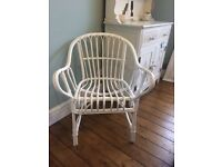 Bamboo chair, white chalk paint finish, excellent condition