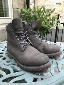TIMBERLAND 6 INCH PREMIUM LEATHER BOOTS GREY SIZE 9 UK