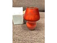 Partylite Mini Barrel Jar with Autumn Leaves Shade.