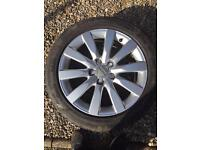 Audi A4 b8 2009 on alloy wheels/rim with tyres & centre caps