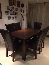 Turin Dark Oak Dining Table and 6 faux leader chairs