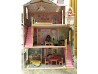 ELC Wooden Mansion Dolls House with Wooden Furniture