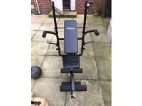 Foldable multi function weight bench with incline.