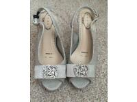 Debut silver sparkly sandals size 4, wide fit