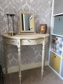 Shabby chic dressing table, side table, moon table, telephone table.