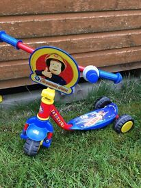 Fireman Sam scooter age 2-4 year old. Collect or can deliver.