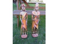 Hand carved tribal figures.