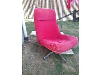 Red corduroy swivel retro style easy chair and footstool