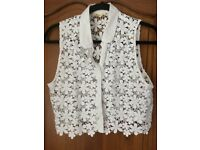 hollister size M zip front cardigan and lace top