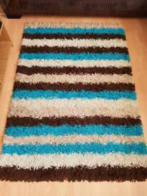 Teal, Brown, Cream Striped Rug