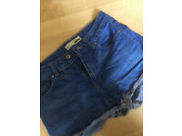 Shorts Bright/Dark Denim From Topshop