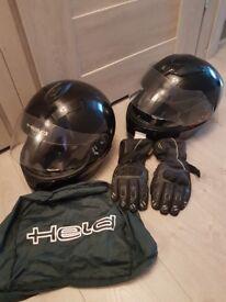 Motorbike helmet jacket gloves