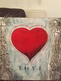 Canvas red heart