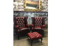 Pair of Queen Anne Wingback Chesterfield Armchair