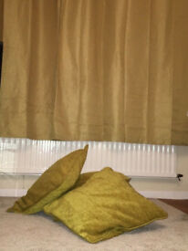 Waffle Style BLACKOUT LINED OCHRE Curtains 66x72 BN and 4 50x50 Ochre Cushion Covers Will Post n