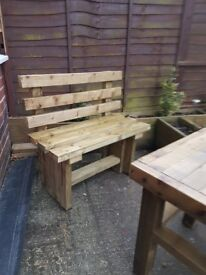 TIMBER BENCH with BACK - 900mm - brand new / delivered