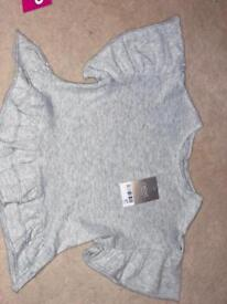 Next Grey frilly Sleeve Top - Girls Age 3!