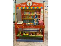 Wooden Shop with till, tea set, shopping bag and food