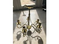 Gold, 5 arm chandelier. Debenhams