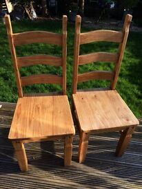 SOLID WOOD DINING CHAIRS x 2