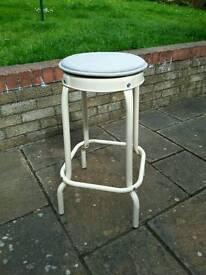 Cream metal stool
