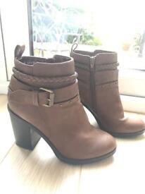 Ladies brown heeled ankle boots