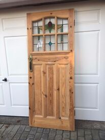 Pitch pine front door stained glass plus matching side window