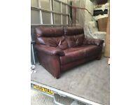 Burgundy leather sofa