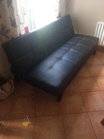 Black Leatherette sofa bed/futon